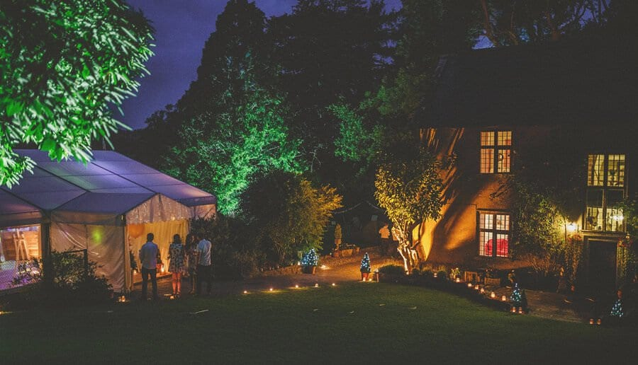 The garden lights and the marquee