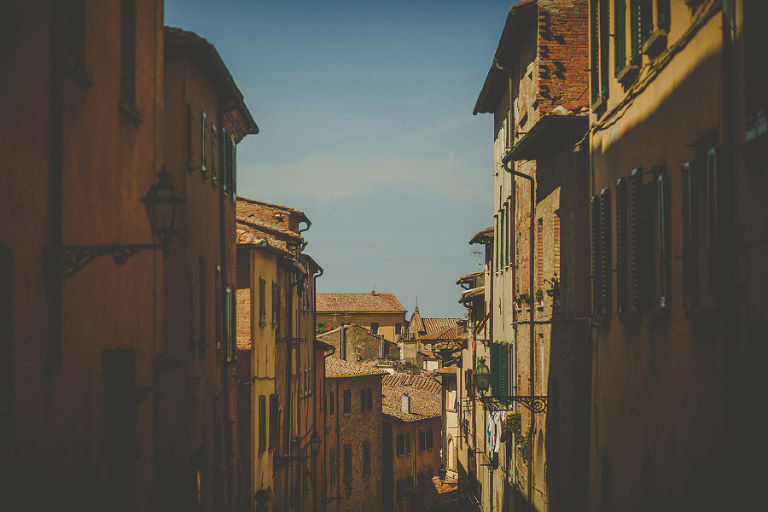 A street view in the old town of Volterra