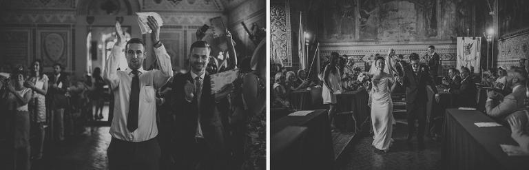 The bride and groom celebrate their marriage ceremony in Palazzo dei Priori