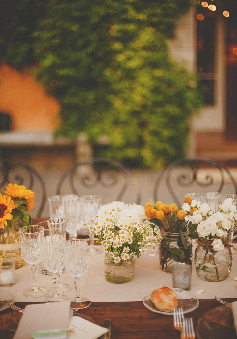 The wedding table flowers at Villa Di Ulignano