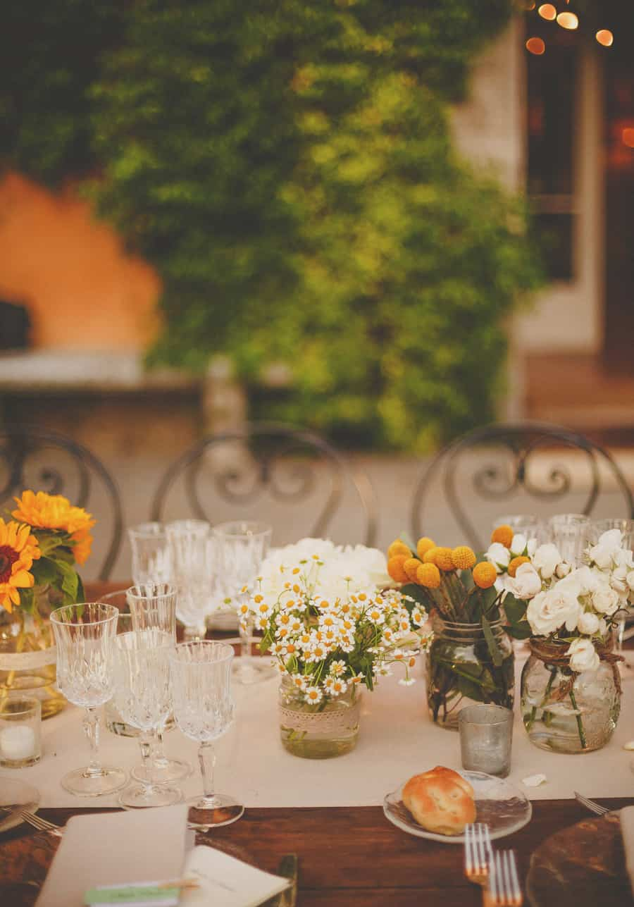 The wedding table flowers at Villa Di Ulignano