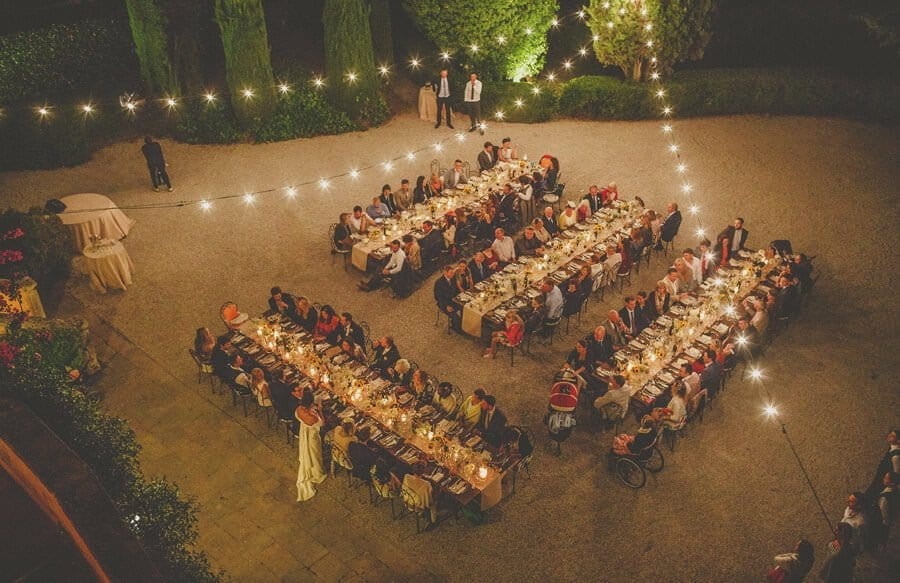 The wedding guests and tables at Villa Di Ulignano
