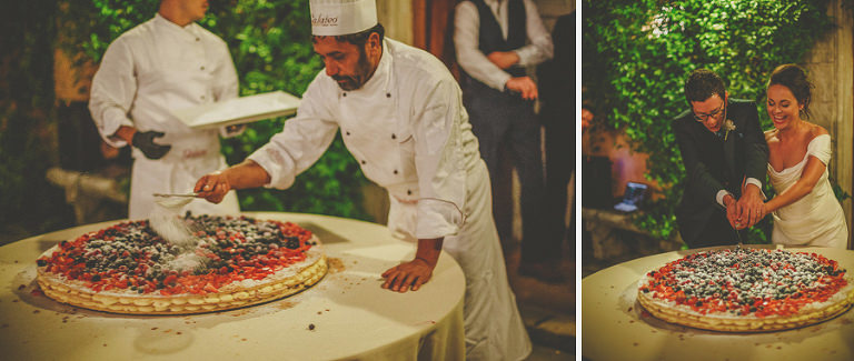 Italian chefs creating the wedding cake and the bride and groom cut the cake