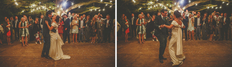 The bride and groom enjoying their first dance together
