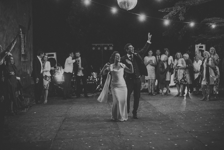The bride and groom celebrating their first dance at Villa Di Ulignano
