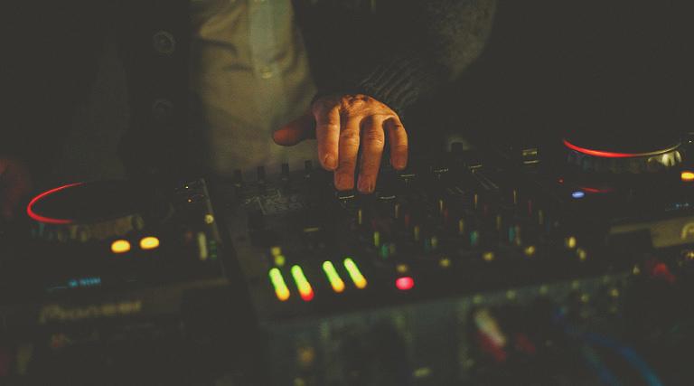 The DJ works his decks