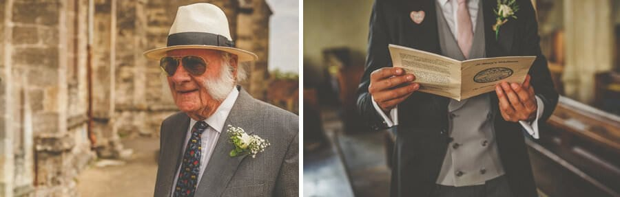 The grooms grandfather arrives at the church