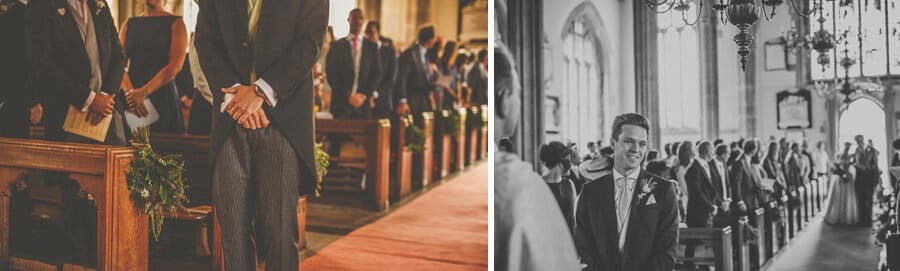 The groom waits nervously in the church in Wedmore