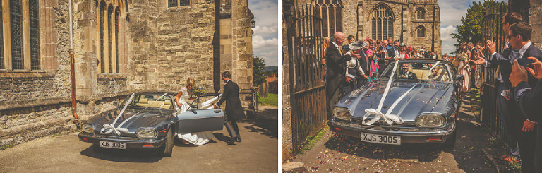 The bride and groom leave the church in Wedmore in an old car