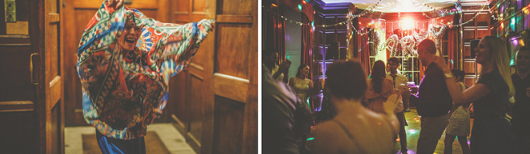 The mother of the bride lifts her dress up on the dancefloor