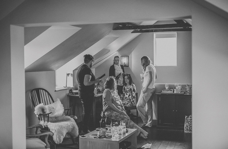 The bridal party getting ready