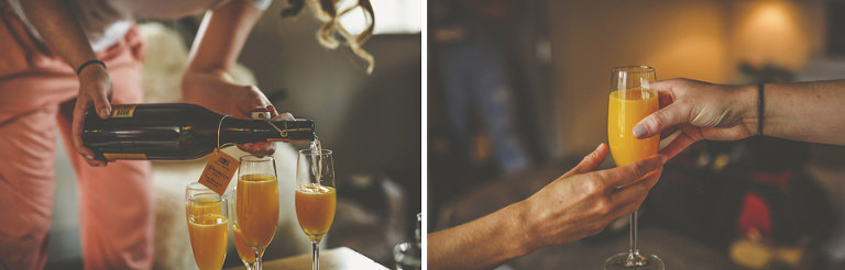 A bottle of champagne is poured into glasses with orange juice