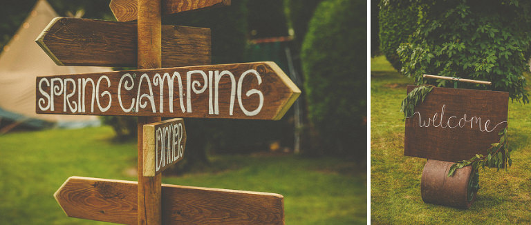 Wooden signs in the camping fields