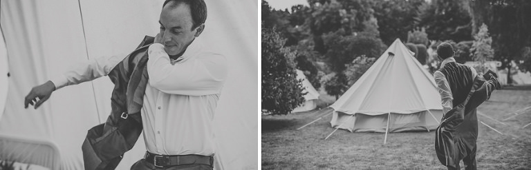 The groom puts on his jacket in the camping fields