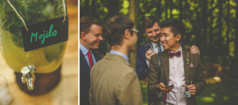 Wedding guests laugh and joke with each other outside the wedding venue