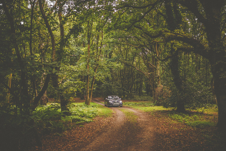 The bride travels through the woods in a car