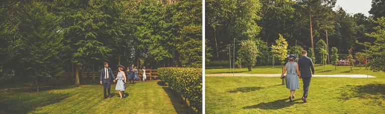 The brides family walk towards the outdoor wedding ceremony