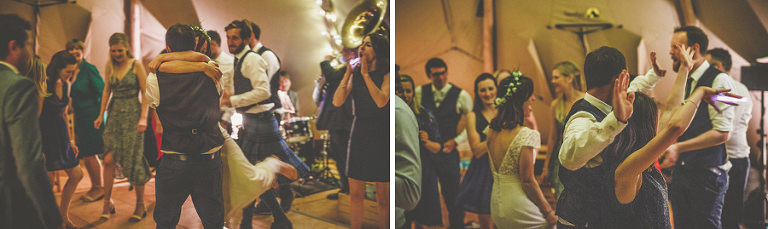 The bride and groom dancing on the dancefloor in the marquee
