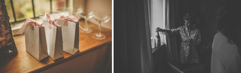 A bridesmaid places a bottle of champagne next to the window
