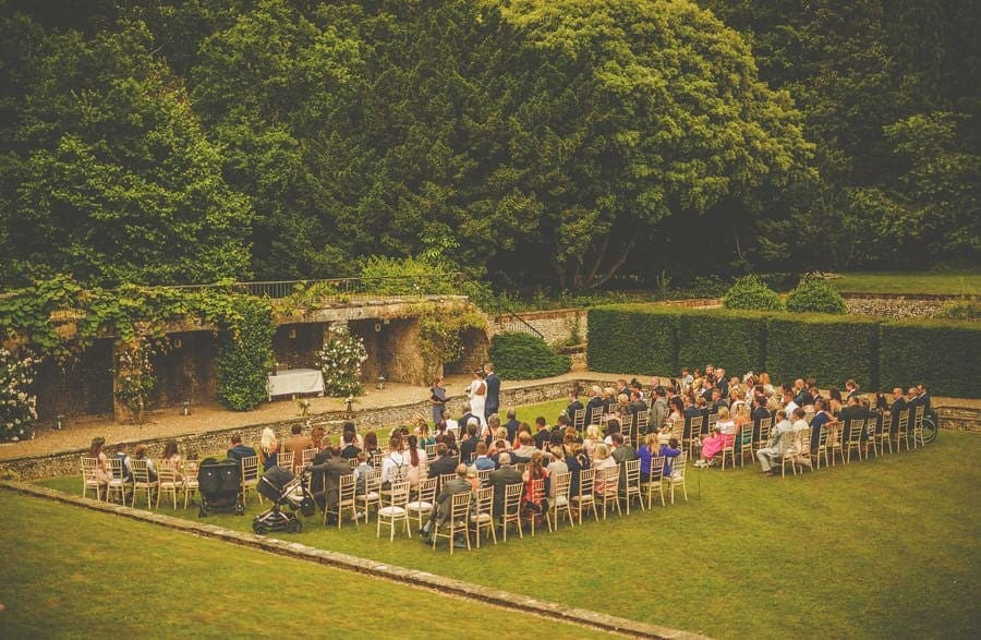 The outdoor ceremony on the front lawn at Voewood