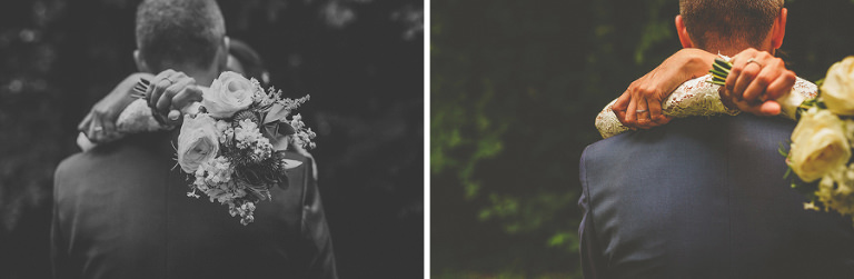 The bride holds her flowers and puts her arms around the groom in the gardens at Voewood
