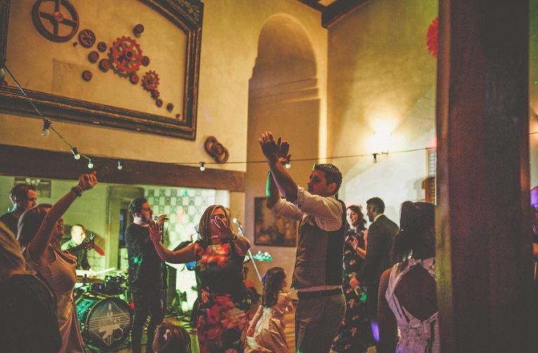 The wedding party on the dancefloor