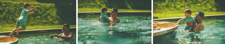 A boy dives into the outdoor swimming pool at Wilderness reserve