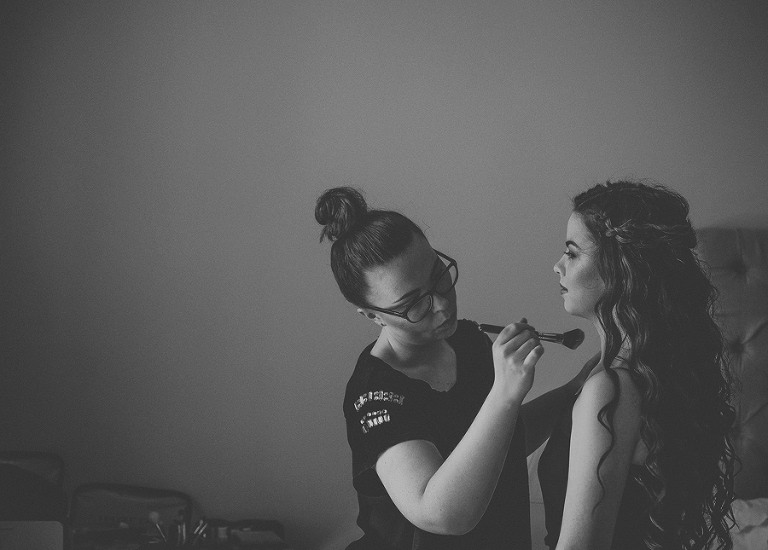 A bridesmaid gets ready