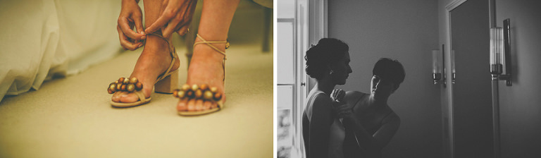 The bride puts on her wedding shoes