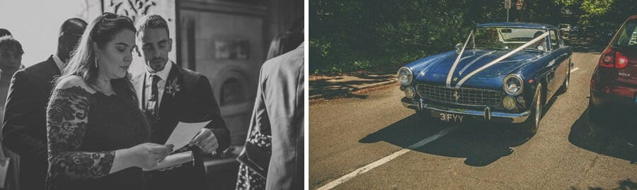 The wedding car arrives