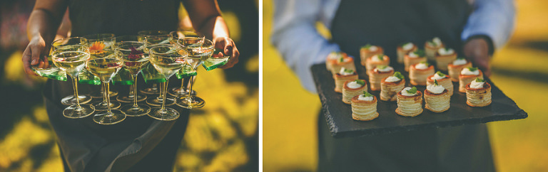 Champagne glasses and canapes