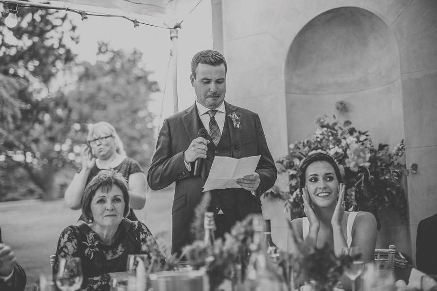 The groom pulls his face while reading his speech