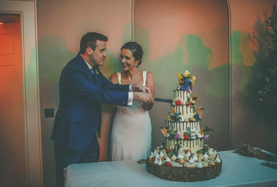 The bride and groom cut the wedding cake