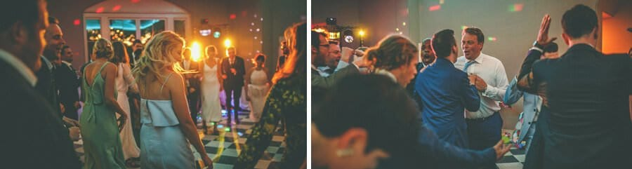 The groom dances with his friend