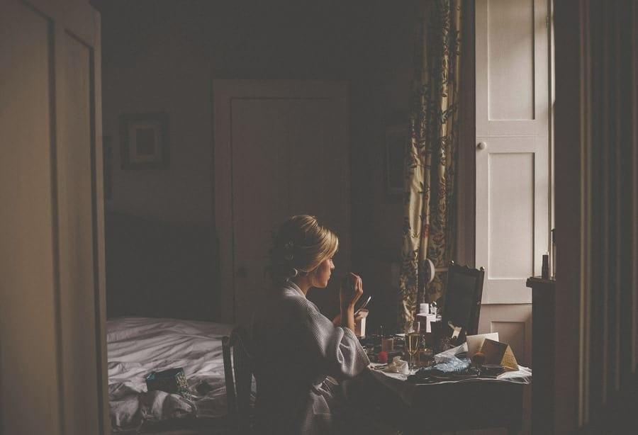 The bride in her mothers bedroom