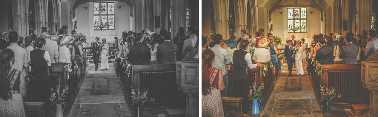 The bride and groom walk down the aisle at the church of St. Mary the virgin Batcombe