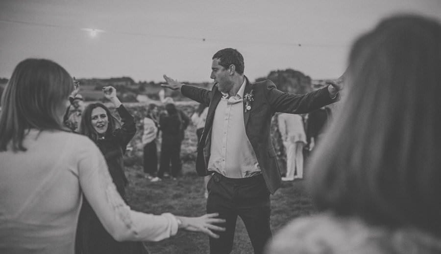 Dancing outside Penny Square barn