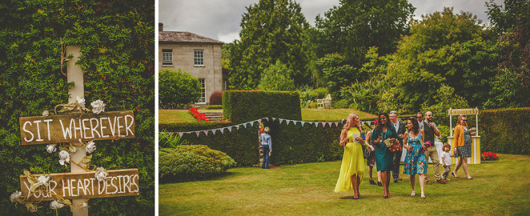Guests arriving to the outdoor ceremony