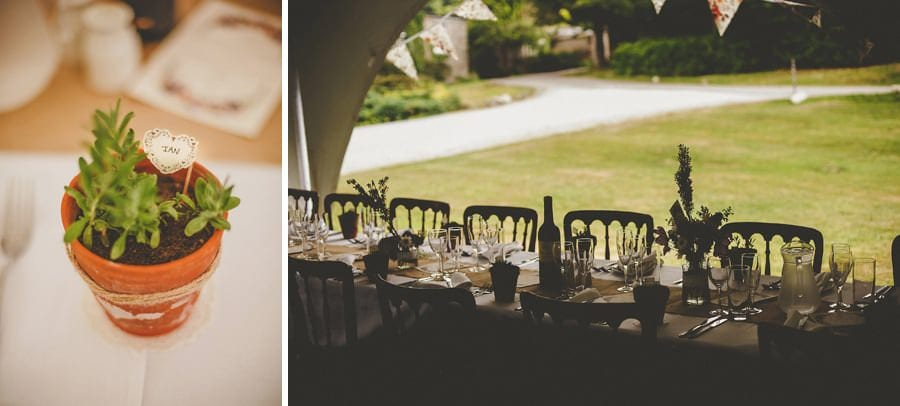 The wedding dinner table at Cole Hayes park