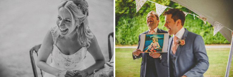 The groom and his best man laugh at photographs of the bride