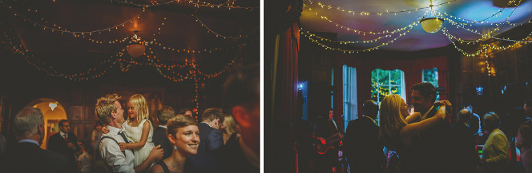 A girl is picked up by a wedding guest on the dancefloor