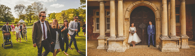 The bride and groom at the main door of Longstowe Hall