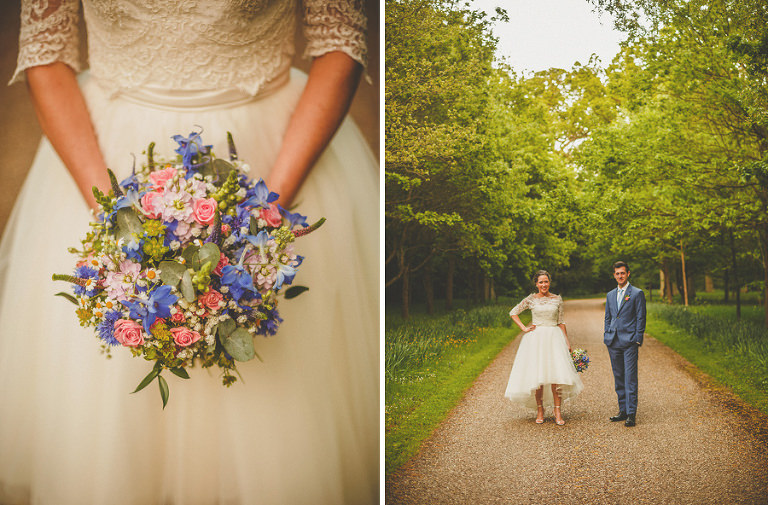 The bride and groom in the grounds of Longstowe Hall