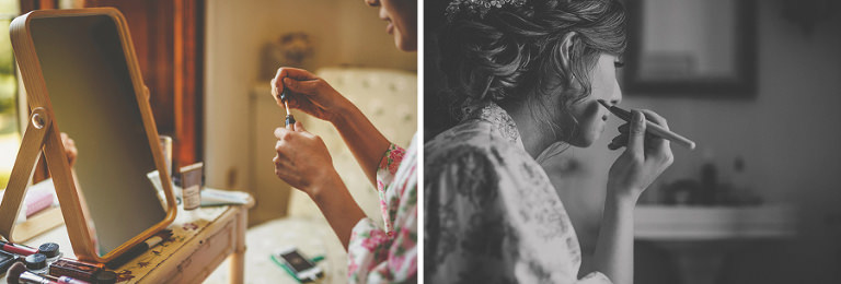 The bride puts on her make up