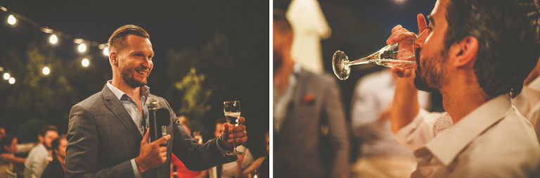 The groom raises a toast to his new bride