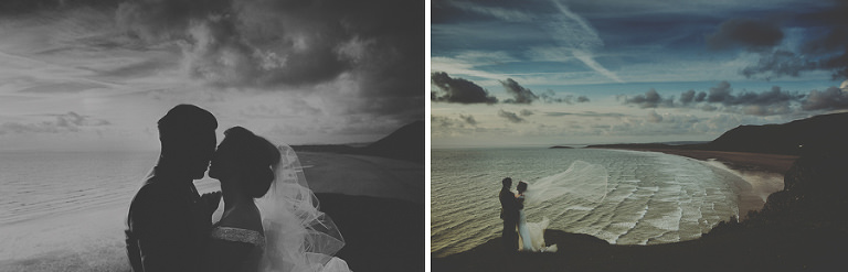 Bride and groom together on the top of the hill overlooking Rhosilli bay