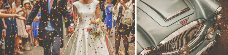 Confetti being thrown at the bride and groom outside St. Lukes church, Grayshott, Surrey