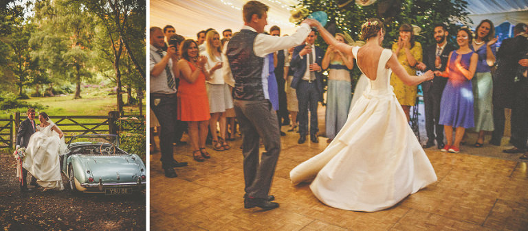 The bride and groom's first dance in the wedding marquee