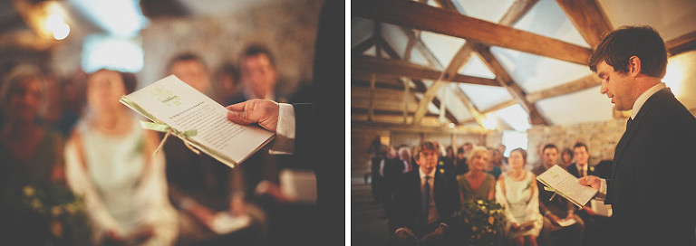 The brides brother makes a speech during the wedding ceremony at Almonry Barn