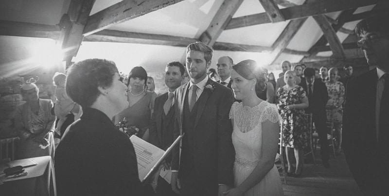 The wedding ceremony at Almonry Barn